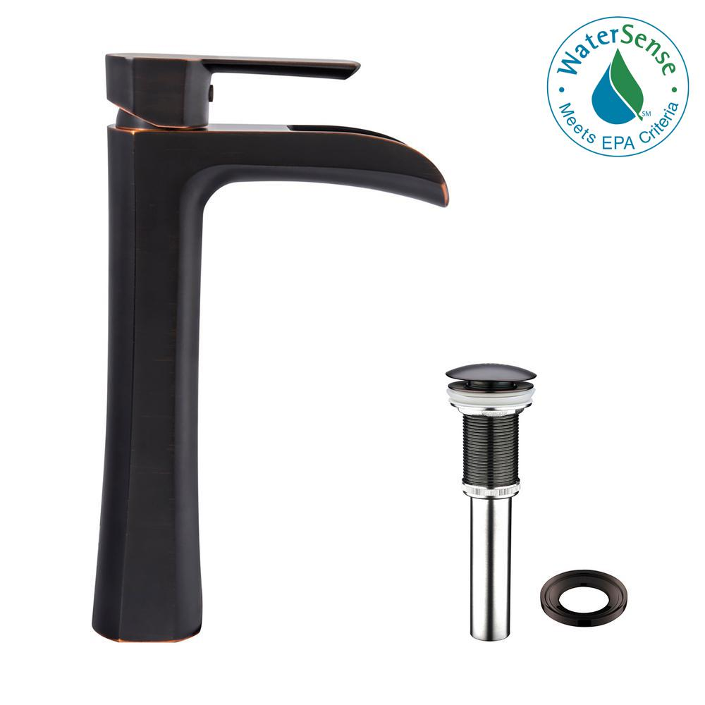 Vigo Niko Single Hole Handle Vessel Bathroom Faucet In Antique Rubbed Bronze With Pop
