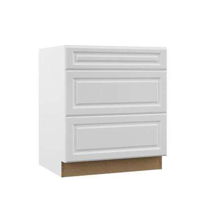 Elgin Assembled 30x34.5x23.75 in. Pots and Pans Drawer Base Kitchen Cabinet in White