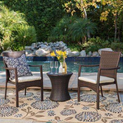 Corsica Brown 3-Piece Wicker Patio Conversation Set with Creme Cushions