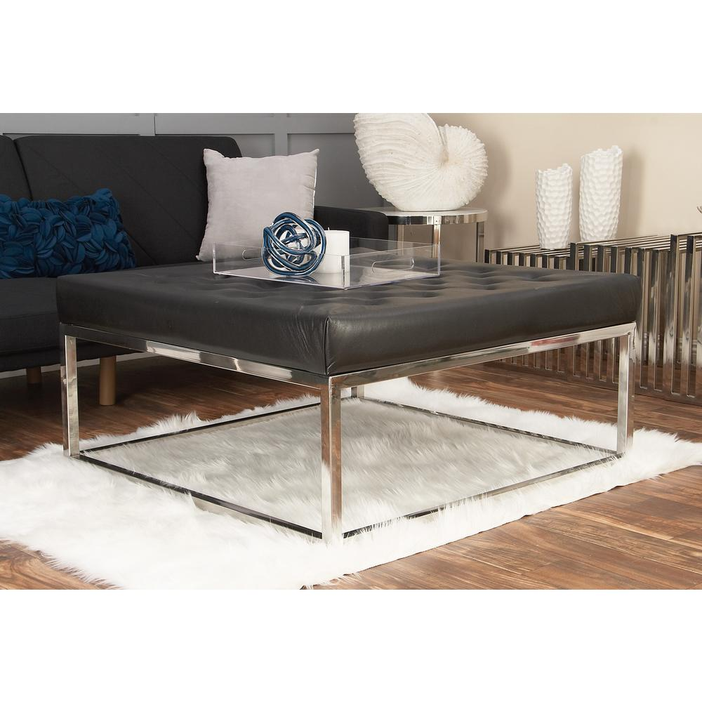 Modern Black And Silver Button Tufted Coffee Table