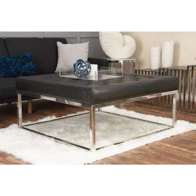 Modern Black and Silver Button-Tufted Coffee Table