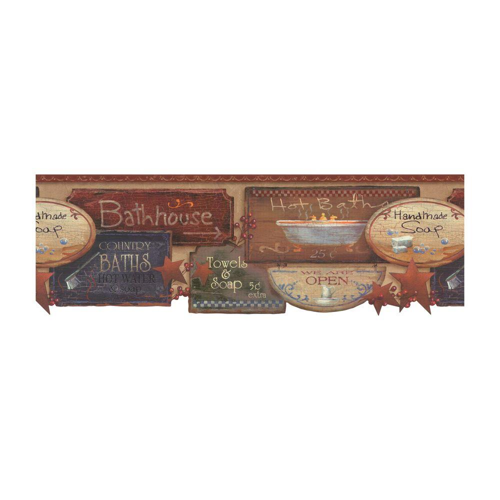 York wallcoverings best of country bath signs wallpaper for Bathroom border paper