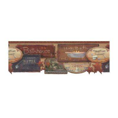 Best of Country Bath Signs Wallpaper Border