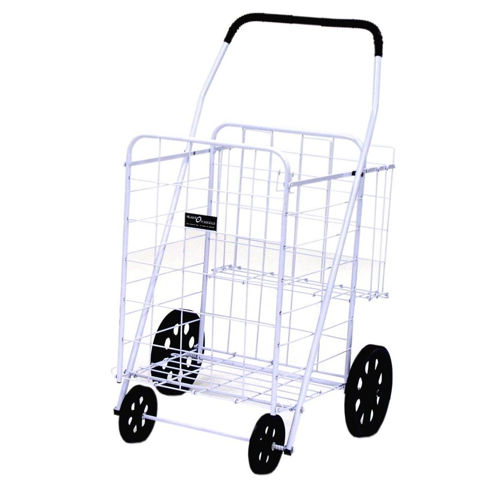 Easy Wheels Jumbo Plus Shopping Cart in White The Easy Wheels Jumbo Plus Shopping Cart has been the industry's premier cart with industrial strength for home use. When lying down, with the cart folded, the highest measurement is the wheels with a 9.75 in. Dia giving an incredible amount of convenience in a compact size. This model has an extra basket for additional storage. Color: White.