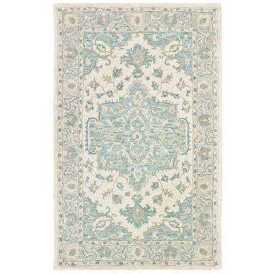 Modern Traditions Turquoise Gray 5 ft. x 8 ft. Indoor Area Rug
