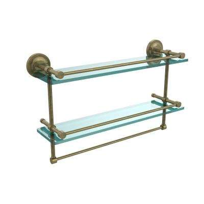 22 in. L  x 12 in. H  x 5 in. W 2-Tier Clear Glass Bathroom Shelf with Towel Bar in Antique Brass