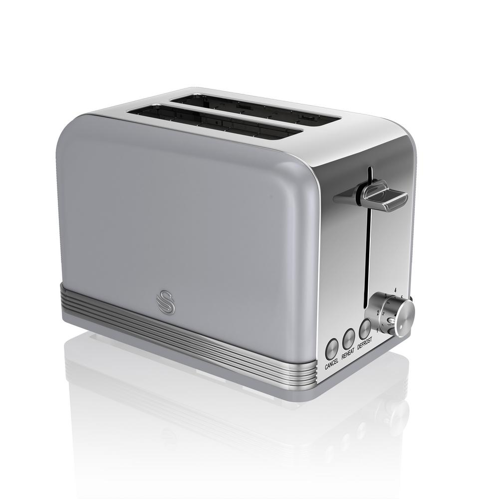 Retro 2-Slice Grey Toaster Power up your kitchen design with the chic, mid-century modern lines of Swan's Retro Style 2-Slice Toaster. In addition to adjustable browning in auto centered racks, it offers defrost, reheat and cancel functions. Compliments any kitchen. Color: Grey.