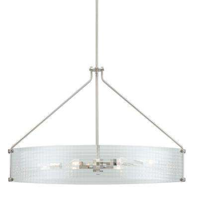 Westlyn 6-Light Brushed Nickel Chandelier with Clear Optic Glass Shade