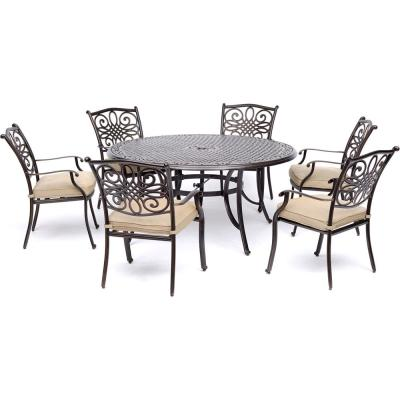 Traditions 7-Piece Aluminum Outdoor Dining Set with 6 Chairs with Tan Cushions and Cast-Top Table