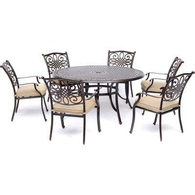 Traditions 7 Piece Aluminum Outdoor Dining Set With 6 Chairs With Tan  Cushions And Cast