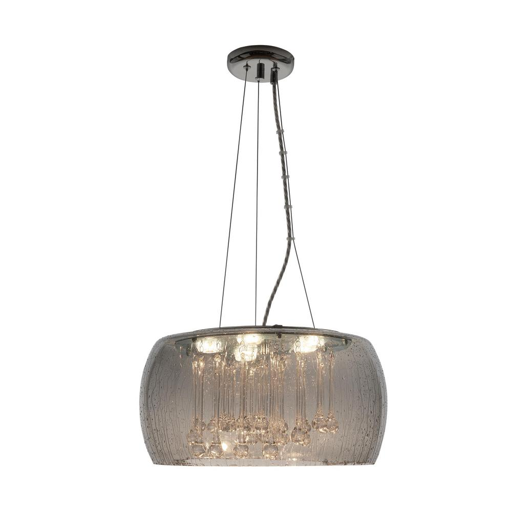 Home Decorators Collection 5-Light Chrome Glass with Clear Glass Beads LED Pendant