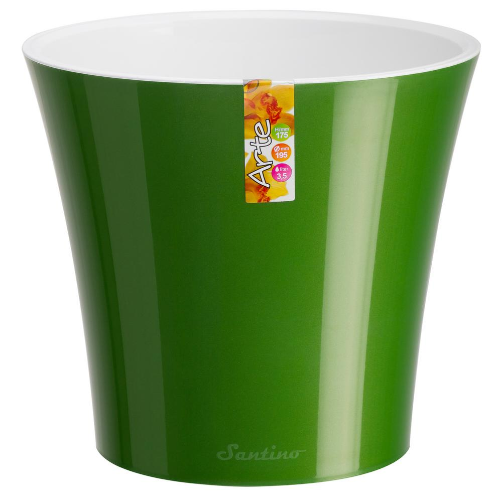 Arte 6.5 in. Green-Gold/White Plastic Self Watering Planter