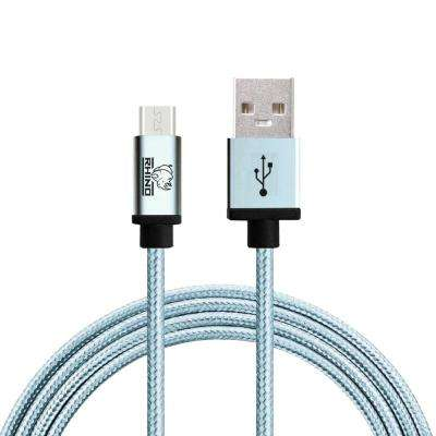 3 ft. Braided Nylon USB Type C Male to USB Type A Cable, Blue