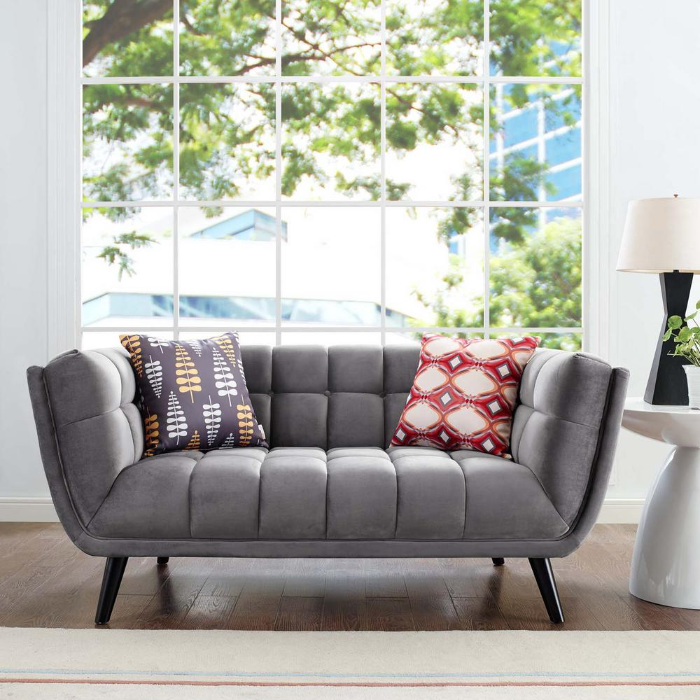 Bestow Gray Velvet Loveseat