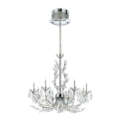 Giselle Collection 8-Light Chrome Hanging Chandelier