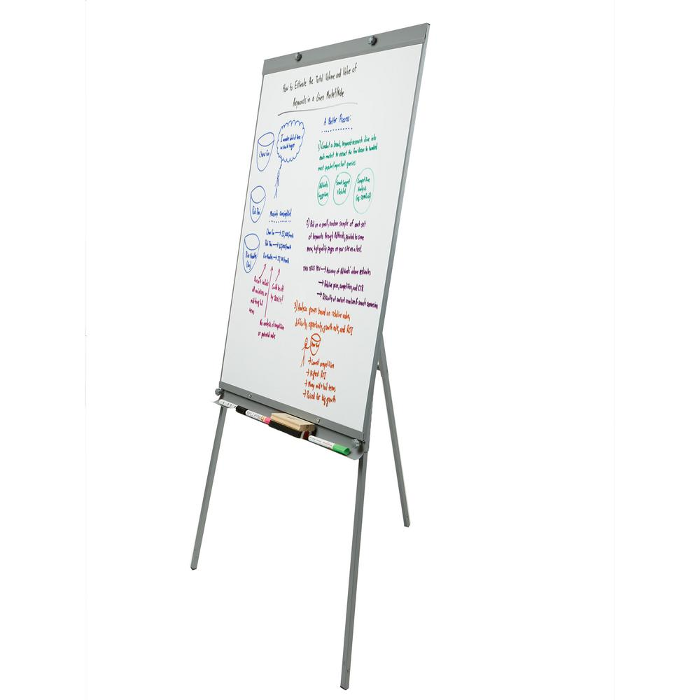 Mind Reader Magnetic Dry Erase White Board With Stand Adjustable Height Lightweight Portable Tripod Versatile Board White