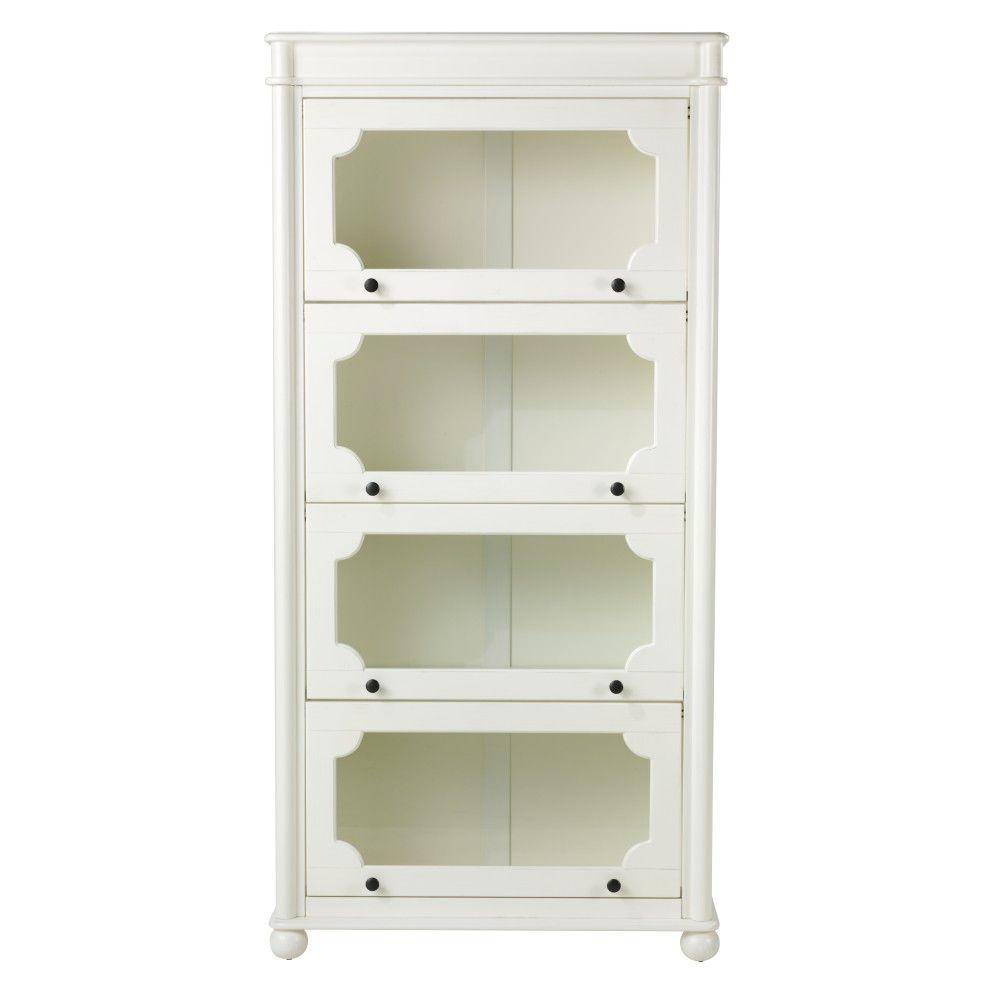 Home Decorators Collection Essex 64.5 in. H Aged Cream 4-Shelf Barrister Bookcase
