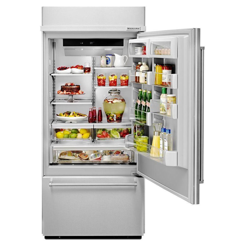 KitchenAid 20.9 cu. ft. Built-In Bottom Freezer Refrigerator in Stainless  Steel, Platinum Interior