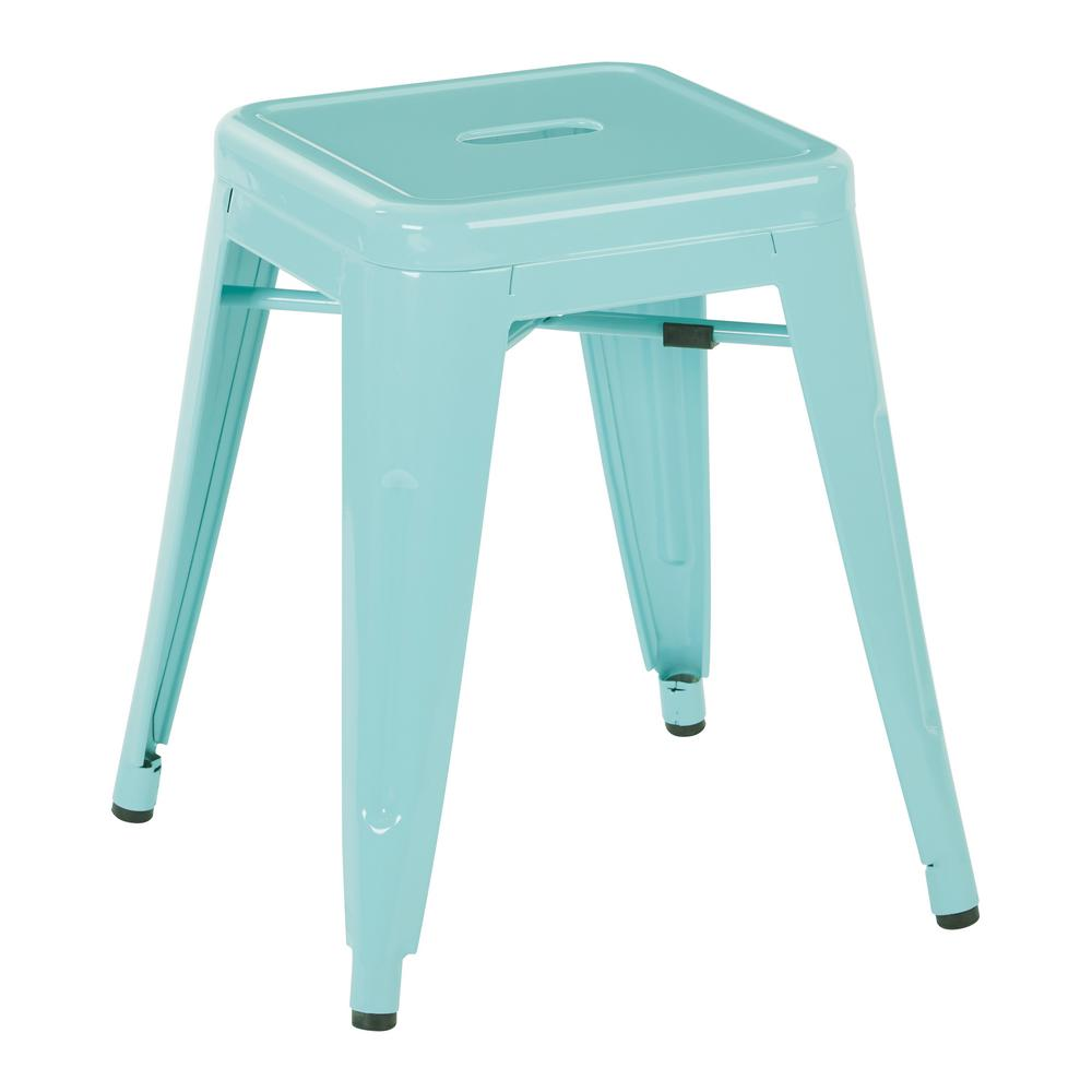 Mint powder coated steel metal backless barstool fully assembled