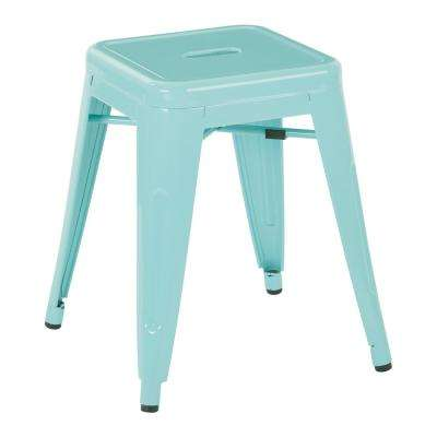 Patterson 18 in. Mint Powder Coated Steel Metal Backless Barstool Fully Assembled (4-Pack)