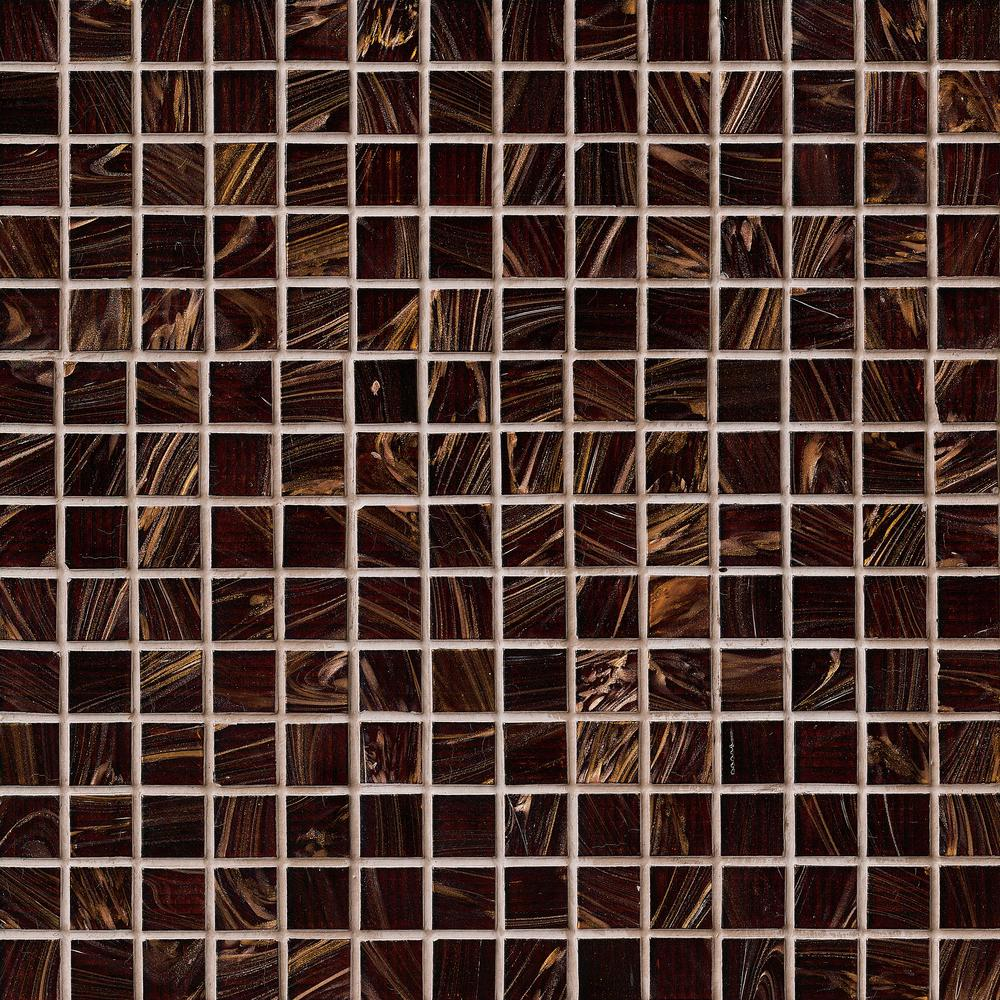 Brown Iridescent 12 in. x 12 in. x 4mm Glass Mesh-Mounted