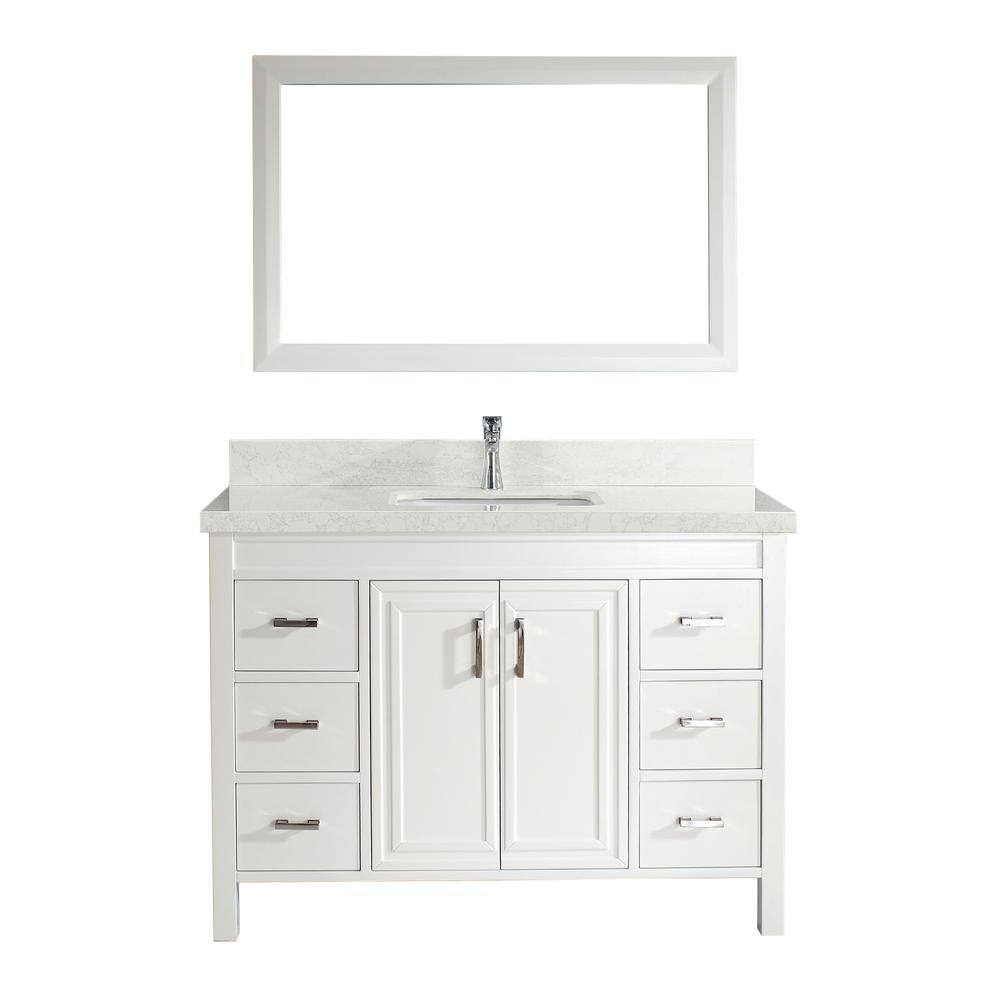 Studio Bathe Dawlish 48 in. W x 22 in. D Vanity in White with Engineered Vanity Top in White with White Basin and Mirror
