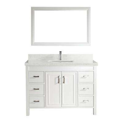 Dawlish 48 in. W x 22 in. D Vanity in White with Engineered Vanity Top in White with White Basin and Mirror