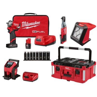 M12 FUEL 12-Volt Lithium-Ion Brushless Cordless Stubby 3/8 in. Impact Wrench & PACKOUT Combo Kit (4-Tool)