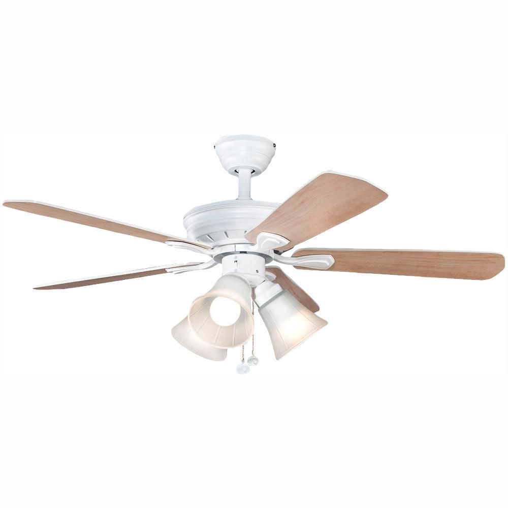 Hampton Bay Westmount 44 in. LED Matte White Ceiling Fan ... on