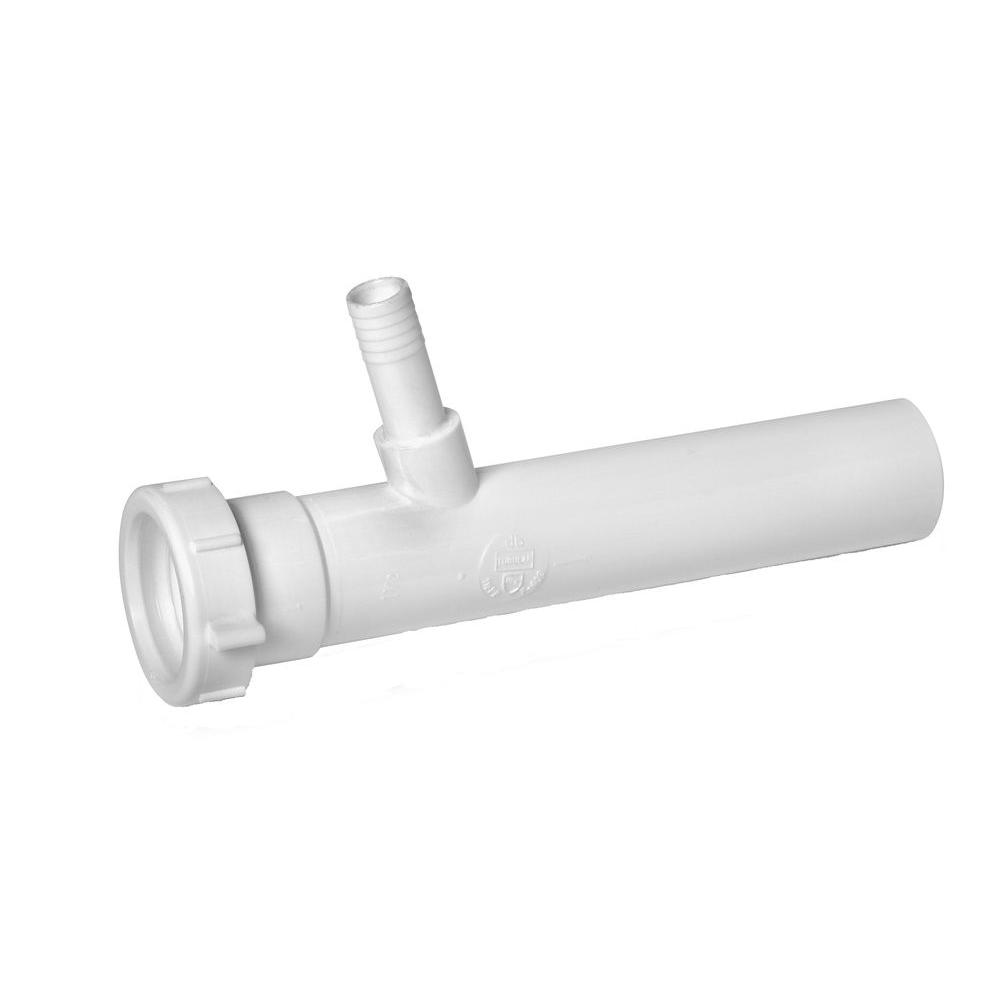 Everbilt 1-1/2 in. x 8 in. Plastic Dishwasher Branch Tailpiece, White Securely connect your dishwasher to a drainage system with the Everbilt Plastic Dishwasher Wye Tailpiece. Made of durable polypropylene material, it is compatible with soft plastic pipe. Kit includes a slip joint washer for easy installation. Provides a reliable, long-lasting drainage solution. Color: White.