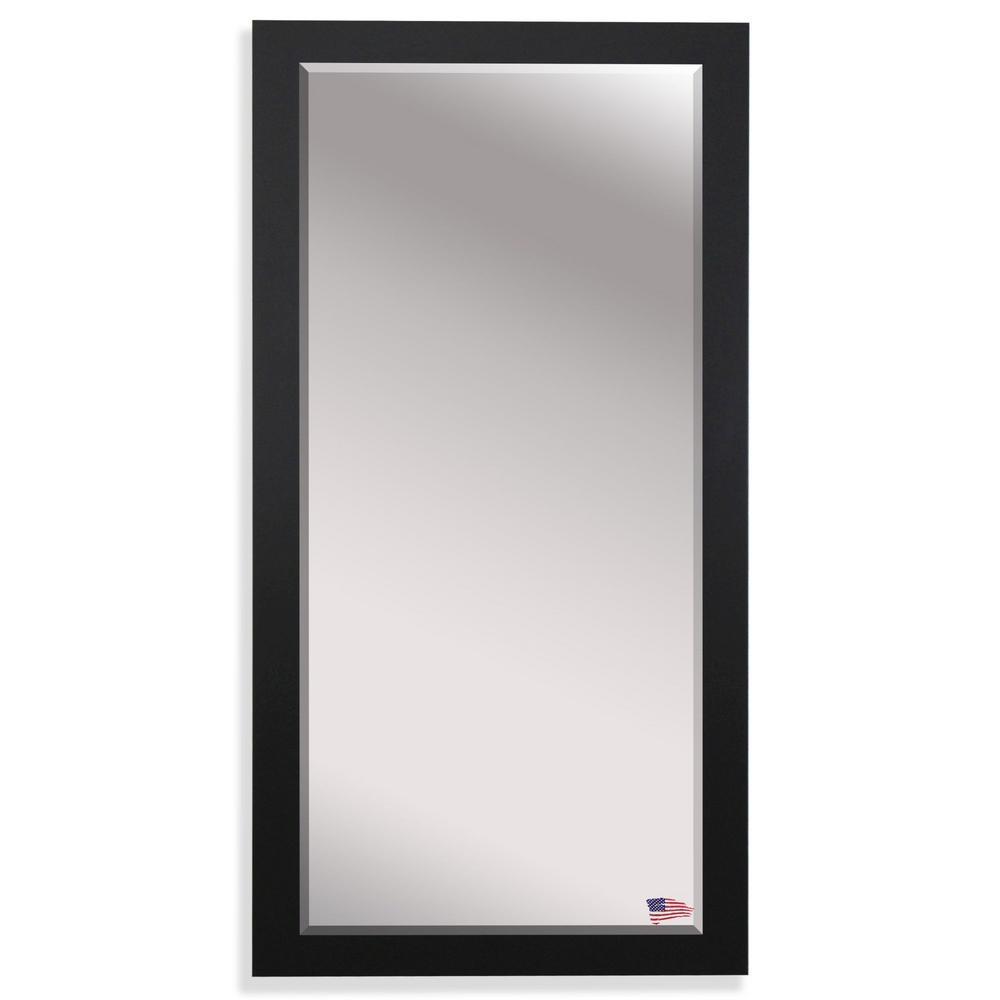 Oversized Satin Black Wood Beveled Glass Modern Mirror (65.5 in. H X 32 in. W)