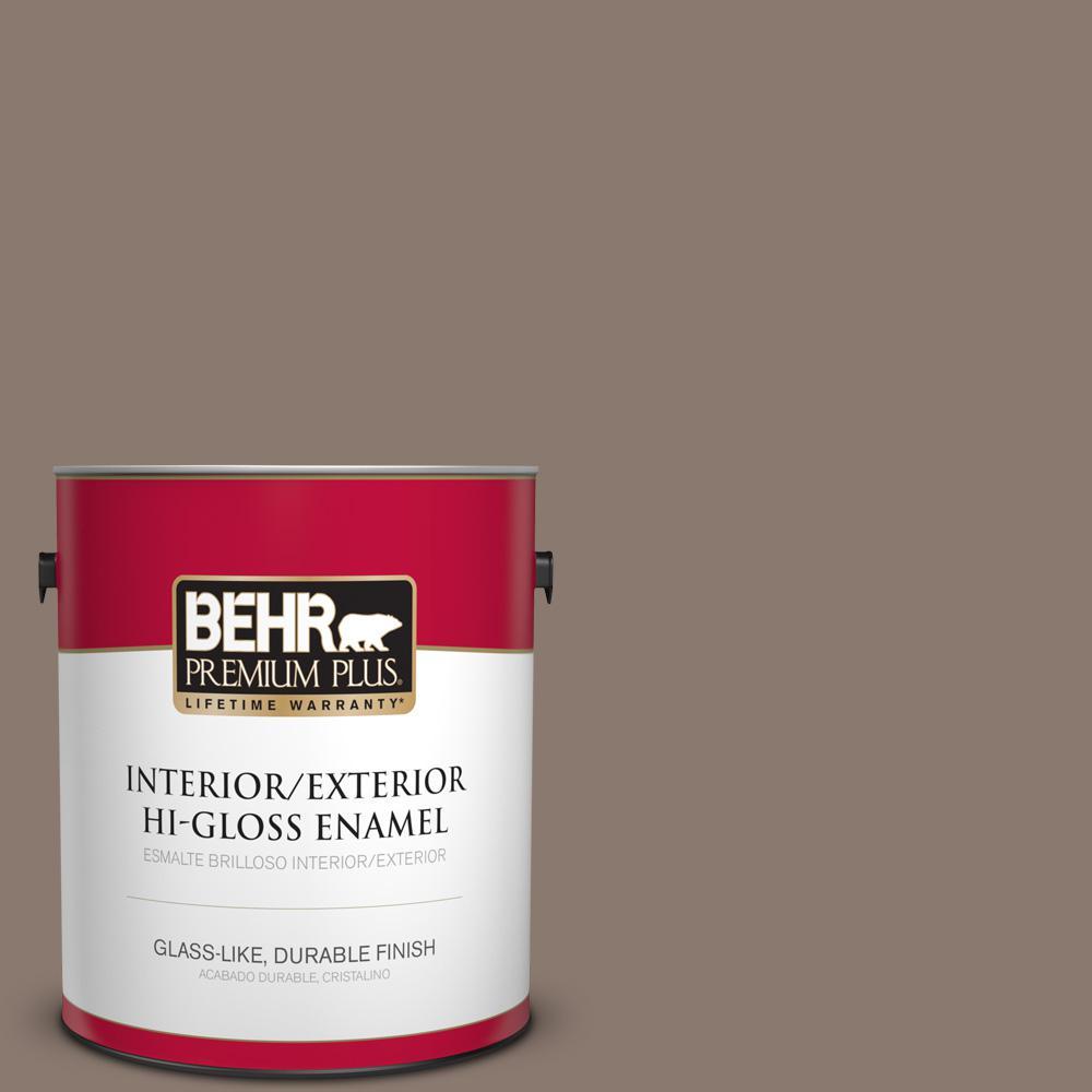 1 gal. #T18-07 Road Less Travelled Hi-Gloss Enamel Interior/Exterior Paint