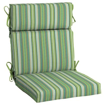 21.5 x 44 Sunbrella Foster Surfside High Back Outdoor Dining Chair Cushion