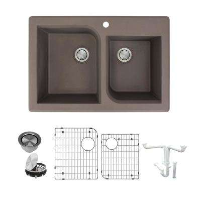 Radius All-in-One Drop-in Granite 33 in. 1-Hole 1-3/4 in. D-Shape Double Bowl Kitchen Sink in Espresso