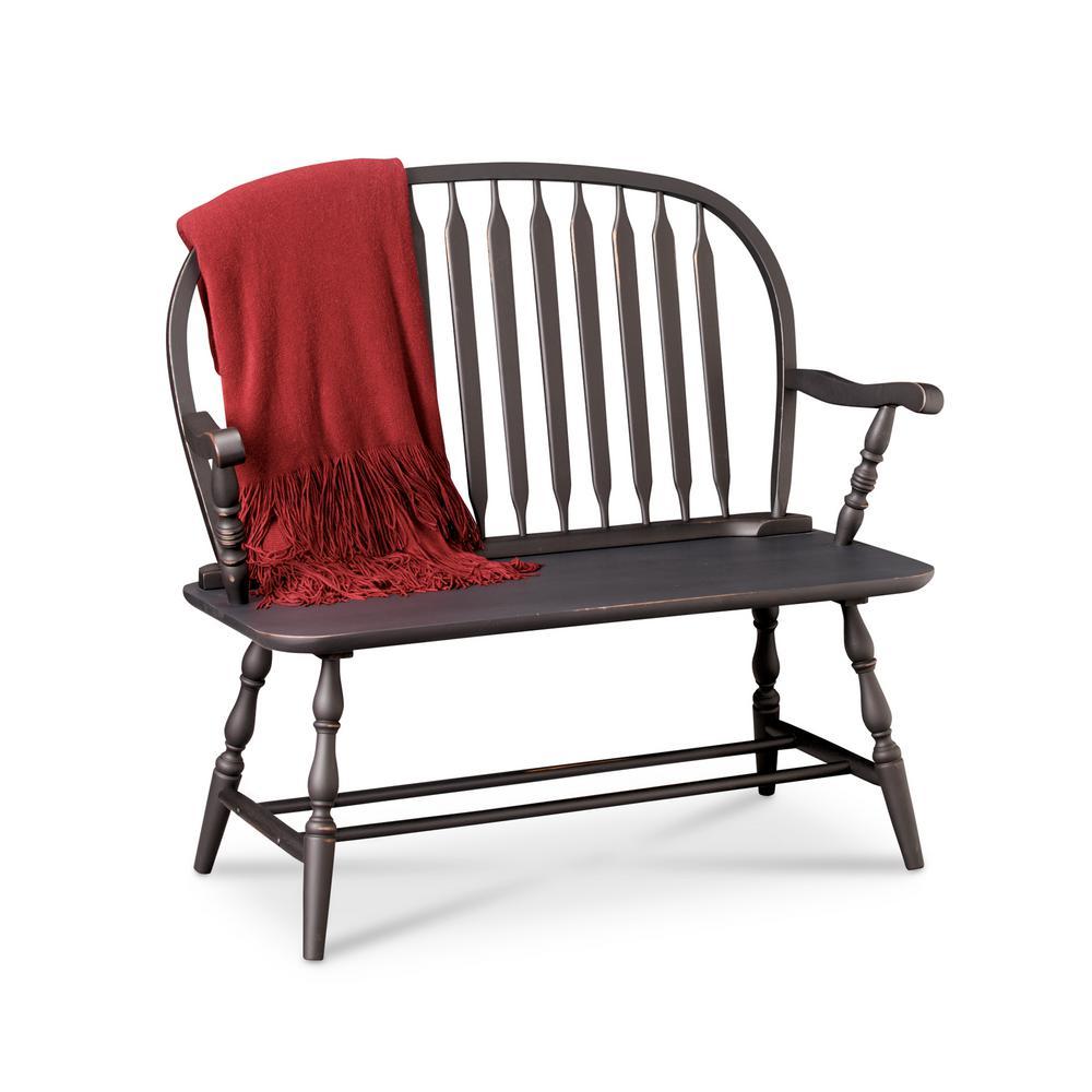 Carolina Cottage Windsor Antique Black Bench