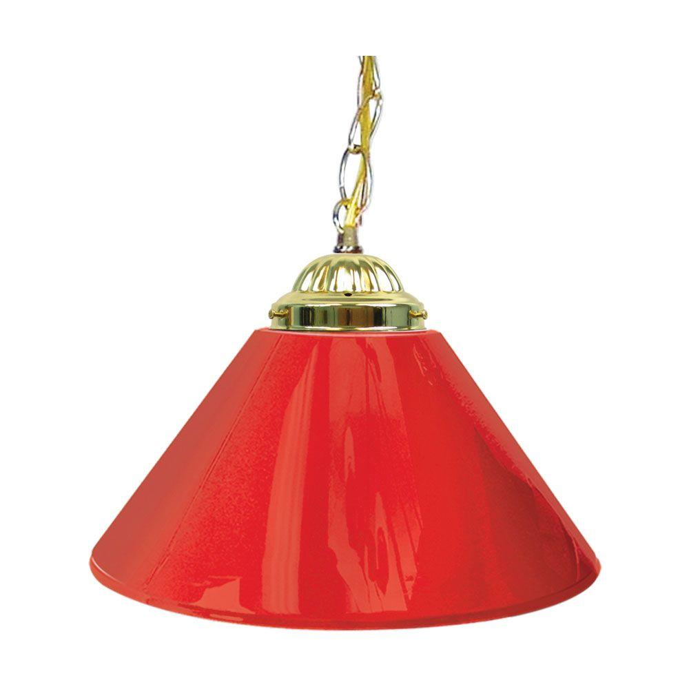 Trademark Global 14 in. Single Shade Red and Brass Hanging Lamp