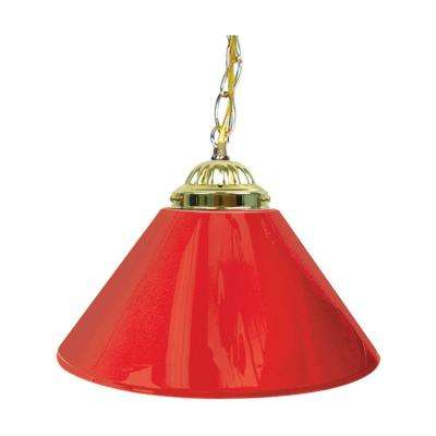 14 in. Single Shade Red and Brass Hanging Lamp
