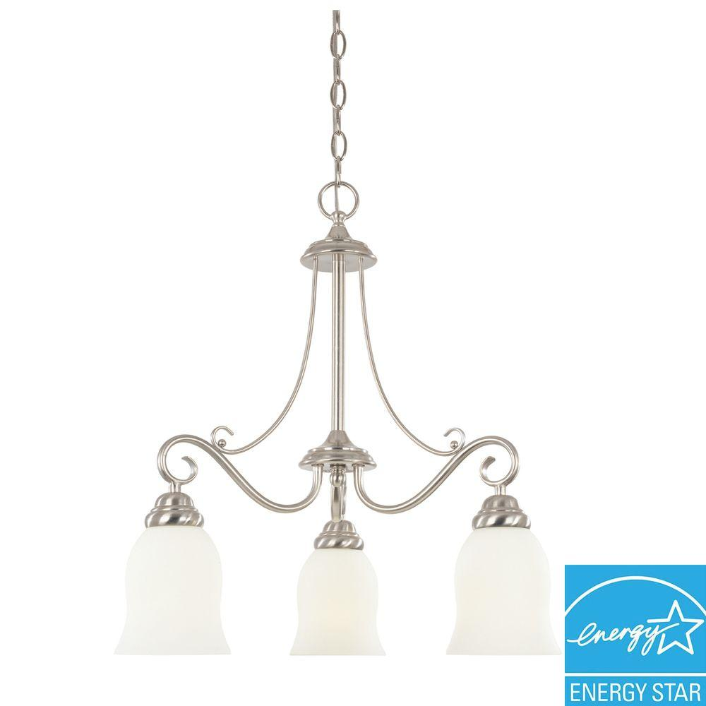 Portland Collection 3-Light Brushed Nickel Hanging Chandelier