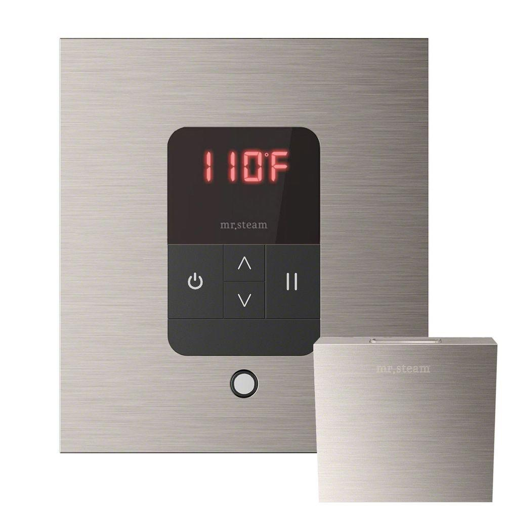 Mr Steam iTempo Control with AromaSteam Steam Head Square for Steam Bath Generator in Brushed Nickel