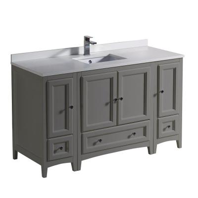 Oxford 54 in. Traditional Bathroom Vanity in Gray with Quartz Stone Vanity Top in White with White Basin