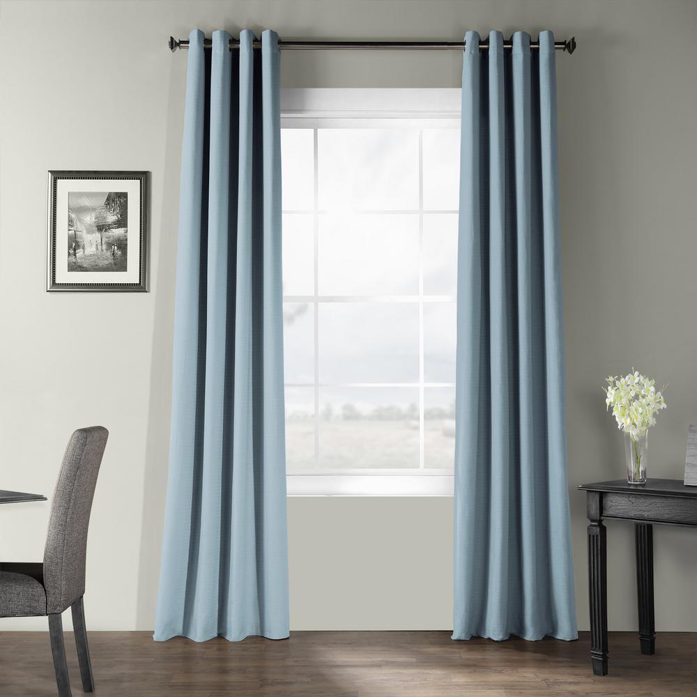Dusky Blue Bark Weave Solid Cotton Grommet Curtain - 50 in. W x 108 in. L