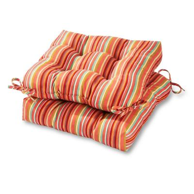 Coastal Stripe Watermelon Square Tufted Outdoor Seat Cushion (2-Set)