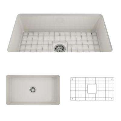 Sotto Undermount Fireclay 32 in. Single Bowl Kitchen Sink with Bottom Grid and Strainer in Biscuit