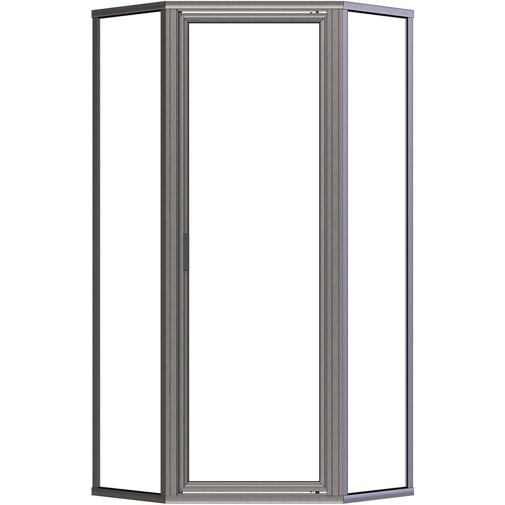 Basco Deluxe 24-1/2 in. x 68-5/8 in. Framed Neo-Angle Shower Door in Brushed Nickel