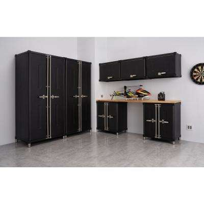 PRO Series 188 in. W x 75.5 in. H x 24 in. D 18-Gauge Welded Steel Garage Cabinet Set in Black (8 Piece)