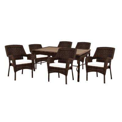 Cambridge 7-Piece Brown Wicker Outdoor Patio Dining Set with Bare Cushions