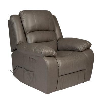 Lincoln Grey Bonded Leather Power Massage Recliner