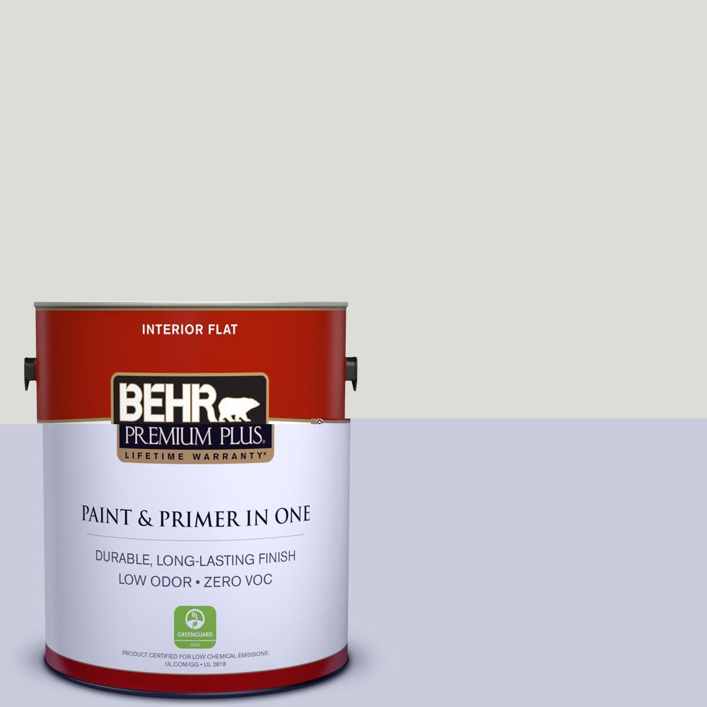 Behr Premium Plus 1 Gal Ecc 48 2 Gulf Breeze Flat Zero Voc Interior Paint And Primer In One