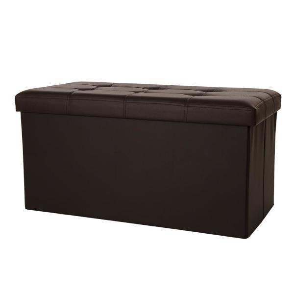 Glitzhome 30 in. L Multi-Functional Brown Faux Leather Foldable Storage Ottoman