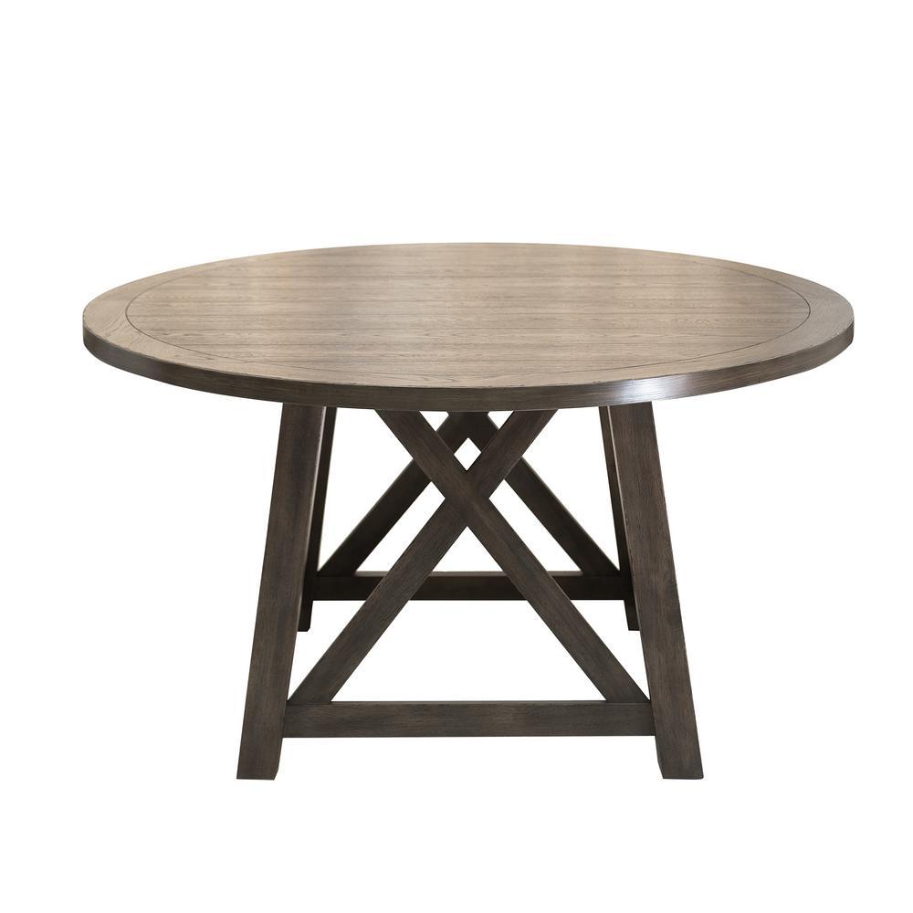 Dark Oak Trestle Round Dining Table